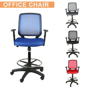 Mid Back Office Drafting Bar Chair Mesh High Stool Swivel Adjustable Home Office