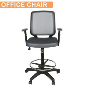 Mid Back Office Drafting Mesh Chair Bar Stool Swivel Adjustable Home Office Gray