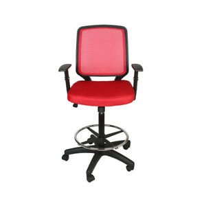 Mid Back Office Drafting Mesh Chair Bar Stools Swivel Adjustable Red Footrest Us