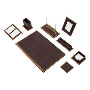 Star Lux Leather Desk Set 10 Accessories Brown