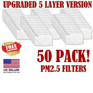 50 Pack Adult Pm2 5 5 Layer Carbon Face Super Fresh Air Mask Filter Replacements