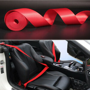 Red 3 6m Harness 3 Point Auto Car Racing Front Safety Retractable Lap Seat Belt