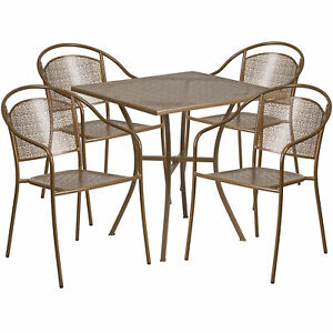 28in Square Metal Patio Table Set With 4 Round Back Chairs Gold Co28sq03chr4gd
