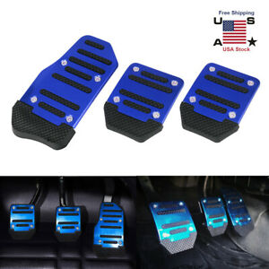 3x Universal Car Pedal Cover Manual Trans Brake Clutch Accelerator Non Slip Blue