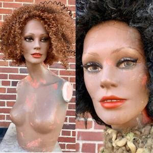 Vintage 60s Mannequin Black Female Woman Teeth Torso Art Bust Oddity Art Creepy