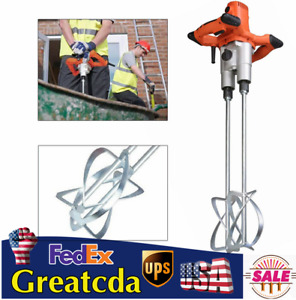 1600w Electric Mortar Mixer 110v Handheld Stirrer Paint Cement Grout Mixing Tool