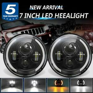 Dot Approved 7 Inch Led Headlight Pair Halo Black Hi Low Drl Fits Jeep Hummer H1