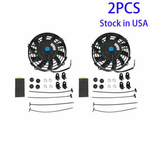 Universal Slim 7 Pull push Radiator Engine Bay Cooling Fan Mount Kit Set Of 2pc