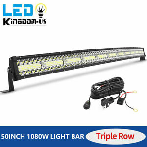 50inch Curved 1080w Tri row Led Light Bar Wiring Combo Driving Offroad Truck