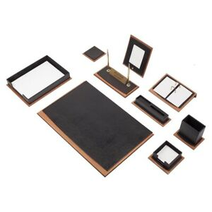 Star Lux Leather Desk Set 11 Accessories Black