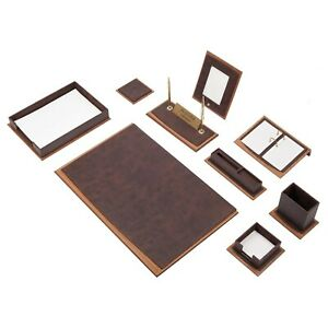 Star Lux Leather Desk Set 11 Accessories Brown