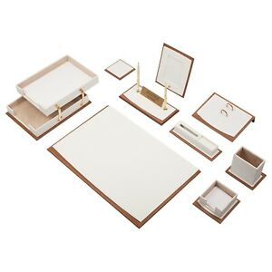 Star Lux Leather Desk Set 11 Accessories White