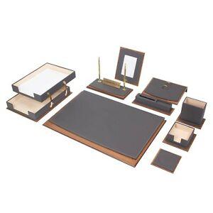 Star Lux Leather Desk Set 11 Accessories Gray