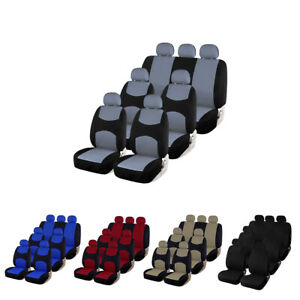 Universal 3 Row 7 Seat Set Car Seat Covers Front Rear For Auto Suv Van Truck