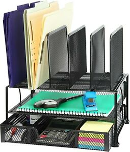 Simplehouseware Mesh Desk Organizer With Sliding Drawer Double Tray New