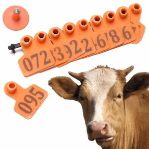100 Number Ear Tag Animals Cattle goat Pig Sheep Livestock Tags Labels Orange R