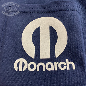 Monarch Lathe Pocket T shirt rare Vintage Machine Tool Logo Navy Blue Gildan