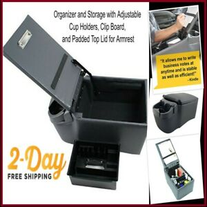 Universal Car Truck Van Bench Seat Console Armrest Cup Holder Business Organizer
