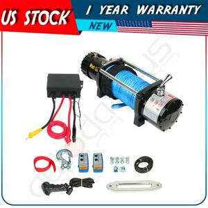 For Chevrolet Silverado 12v 12000lb Electric Winch Tow Towing Synthetic Rope