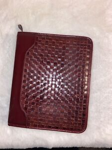 Franklin Covey quest Vintage Woven Maroon Leather Day Planner