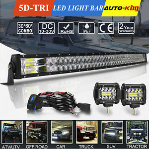 For 1999 04 Jeep Grand Cherokee Wj 50 Curved Led Light Bar Roof Mount 4 Pods