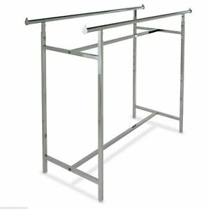 60l X 22 w Commercial Grade Clothing Double Bar H Rack Adjustable Height 48