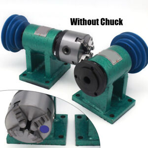 Lathe Spindle Center Height 80mm Chuck Belt Pulley Drive Rotary Cnc Woodworking