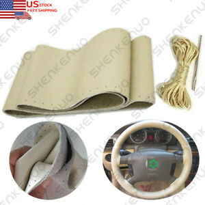 Beige Genuine Leather Auto Diy Car Steering Wheel Cover With Needles And Thread