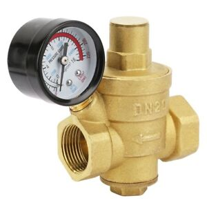 Dn20 3 4 Adjustable Brass Water Pressure Regulator Reducer With Gauge Meter