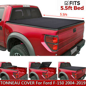 For 2004 19 Ford F 150 5 5ft Short Bed Soft Tri fold Tonneau Cover Clamp on Bk