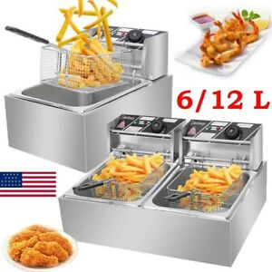 Zokop Electric Countertop Deep Fryer Dual Tank Commercial Restaurant 6 12 Liter