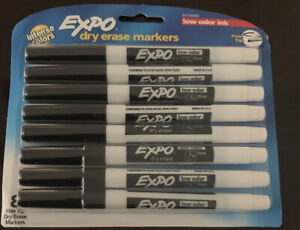 Expo Dry Erase Markers Black Intense Colors W Low Odor Ink Fine Tip 8 Pack