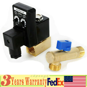 1 2 Auto Electronic Timed Drain Valve Air Compressor Tank Water 2 Way 110v Usa