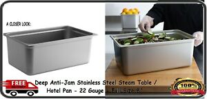 Choice Full Size 8 Deep Anti jam Stainless Steel Steam Table Hotel Pan