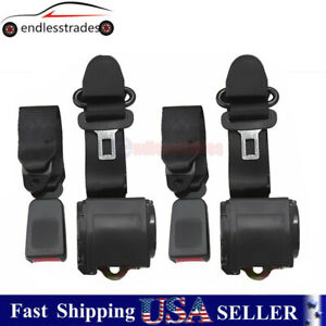 2x Universal 3 Point Retractable Seat Belts For Jeep Cj Yj Wrangler 82 95 629441