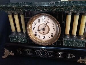 Seth Thomas Mantel 6 Pillar Working Antique Clock W Lions On Sides