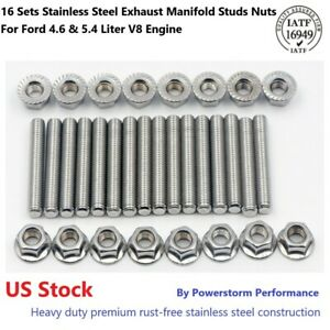 Stainless Steel Bolts Exhaust Manifold Header Stud Kit For Ford F150 4 6 5 4l V8