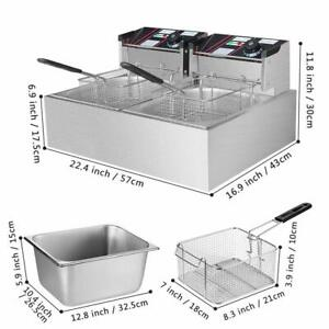 12l Portable Electric Deep Fryer Double Tank Basket Commercial Restaurant Home