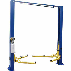 Tuxedo 2 Post Single Piece Clear Floor Electric Hydraulic Vehicle Lift 9klb Cap