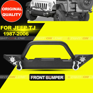 Front Bumper For 1986 2006 Jeep Wrangler Tj Yj D Rings Winch Plate Led Lights