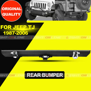 Rear Bumper For 87 06 Jeep Wrangler Tj Yj With 2 Hitch Receiver D Rings Texture