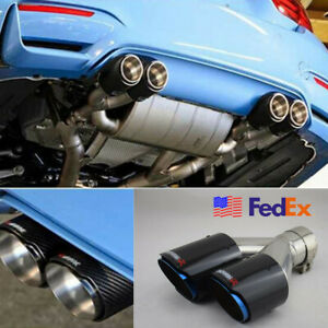 Right 63mm 89mm Glossy Carbon Fiber Car Suv Dual Exhaust Pipe Tail Muffler Tip