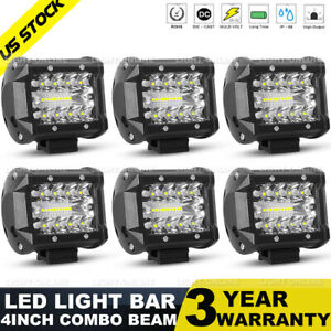 6pcs 4inch 800w Led Light Bar Spot Flood Pods Lights Off road Tractor 4wd Us