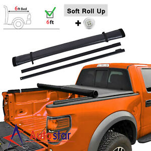 6ft Soft Roll Up Tonneau Cover Fits 2016 2020 Toyota Tacoma Truck Bed