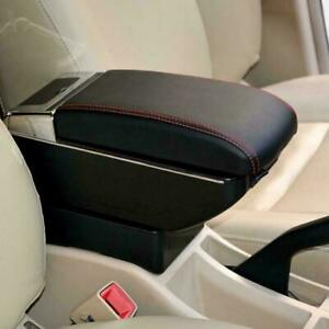 Leather Car Center Console Armrest Storage Box Universal With 7 Usb Ports Us