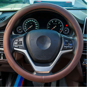 Car Steering Wheel Cover Good Grip Pu Leather Car Accessories For 14 5 15in