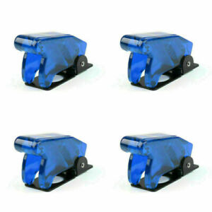 4pcs Toggle Switch Boot Plastic Safety Flip Cover Cap 12mm Clear Blue Us