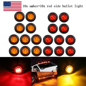 20x Smoked Round Side Marker Lights 3 4 Led Bullet Light Truck Trailer Amber Red