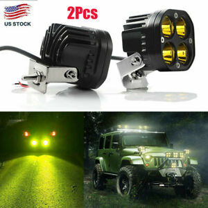 2x 3 In 40w Led Work Light Spot Pods Bar Driving Amber Fog Lamp Offroad Truck Us