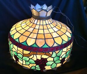 Large Antique Victorian Tiffany Style Stained Leaded Glass Hanging Lamp